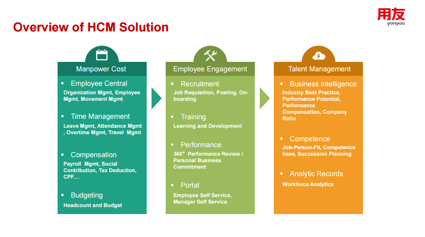 HCM overview employment central time management compensation budgeting recruitment training Performance portal business intelligence competence analytic records